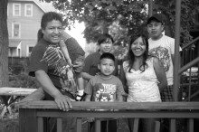 About 30 people, including Daniel and the Guatemalan family in this photo, have recently crossed the border fleeing violence and relocated to New Haven.